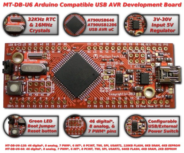 AT90USB646 AT90USB1286 Atmel USB AVR Arduino compatible